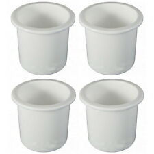 4 Recessed Mount White Plastic Drink Holders for Boats - Fits 3 Inch Hole