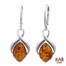 NATURAL COGNAC BALTIC AMBER STERLING SILVER 925 JEWELLERY EARRINGS. KAB-148