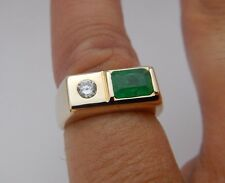 Heavy Vintage Solid 14k Yellow Gold Estate Emerald Men's Pinky Ring Size 5.5