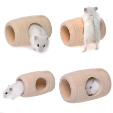 New Wooden Barrel Shaped Hamster Molar Cage House Squirrel Mouse Cave Toys