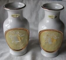 2 ART OF CHOKIN 24kt Gold Plated VASES - 50th ANNIVERSARY with BELLS & RIBBON