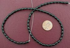 "6x4 Rice Gemstone Black Onyx Beads 15"" Strand"