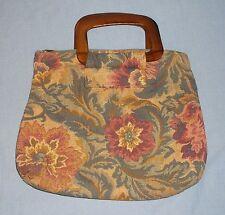 Vintage Floral Tapestry Purse Handbag Woodgrain Plastic Handles Vinyl Lined