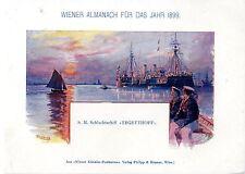 """S. M. Schlachtschiff """"Tegetthoff"""" Historischer Farb- Kunstdruck 1899"""