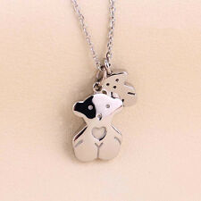 Cute Dual Bears Titanium Steel Pendant Necklace Women's Clavicle Chain Jewellery