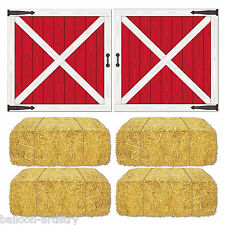 Farm Farmyard Barn Animals Party Scene Setter Add-On Props - LOFT DOOR HAY BALES