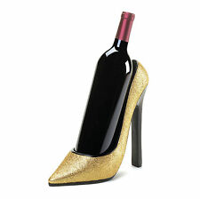 Sparkly Gold Stiletto High Heel Shoe Wine Bottle Holder 16116