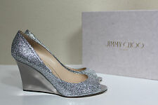 New sz 9 / 39 Jimmy Choo Baxen Silver Glitter Sandal Peep Toe Wedge Heel Shoes