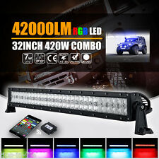 "5D+ 32""INCH 420W HALO RING RGB LED CREE LIGHT BAR COMBO FLASH MULTI COLOR OSRAM"