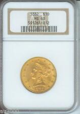 1882 1882-P $10 Liberty Ngc Ms63 Beautiful Ms-63 Scarce Date Older Holder !