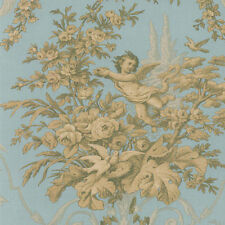 Floral and Cherub Gold & Blue Wallpaper CH28309 DOUBLE roll FREE SHIPPING