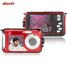 24MP Waterproof Underwater Digital Camera HD 1080P Video Double LCD Screen Y0G8