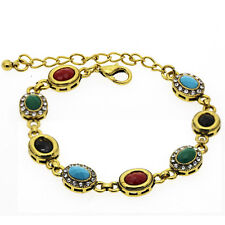 Luxury Vintage Style Emerald Green Blue Red Black Antique Gold Bracelet BB185
