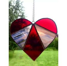 Handmade Stained Glass Love Heart Suncatcher Tiffany Glass Technique Red Glass