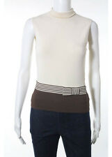 VALENTINO Beige Brown Sleeveless Mock Neck Bow Striped Detail Knit Top Sz S