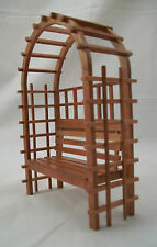 Garden Bench dollhouse miniature furniture 1/12 scale T7219 wood w/ pecan finish