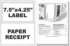 200 Self Adhesive Mailing Shipping Labels W/ Tear Off Paper Receipt Paypal