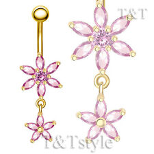 T&T 14k Gold GP Pink CZ Flower Dangle Belly Bar Ring BL126K