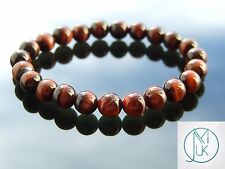 Red Tigers Eye Natural Gemstone Bracelet 7-8'' Elasticated Healing Stone Chakra