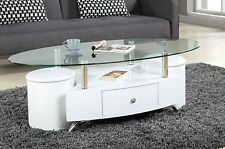 Large Design White Coffe Table With 2 Stools Living room Modern New Stylish