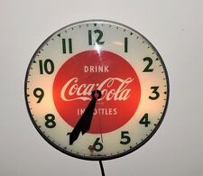Rare Antique Original 1950's Coca Cola Bubble Glass advertising Clock Sign !!