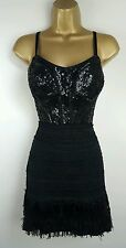 Reiss Black Sequin Tassle 20s Gatsby Style Party Evening Cocktail Dress Size 10