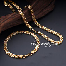8.66'22' Men's 18k Yellow Gold filled Necklace Chain + Bracelet Jewelry Gift Set