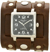 Men's Brown 3 Strap Leather Cuff Watch With Silver Studs - Wide Band Steampunk