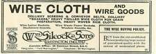 1926 William Silcock Warrington Wire Cloth Old Advert