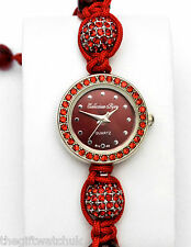 Ladies Red Crystal Diamante Bling & Bead Cord Bracelet Watch by Collection Bijou