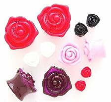 1 Pair 3D Shiny Acrylic Rose Shape Ear Plugs Gauges Double Flare Flower Saddle