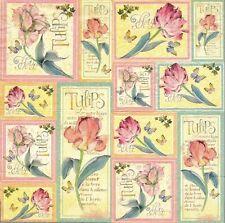 2 Serviettes en papier Fleurs Tulipes Vintage - Paper Napkins Tulips