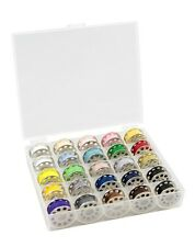 BOBBIN STORAGE BOX WITH 25 METAL THREADED UNIVERSAL BOBBINS