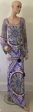 EMILIO PUCCI 2.3K DRESS-UK 8 -10 -US  6 -LONG SLEEVED MAXI-BELT-100% SILK-PURPLE