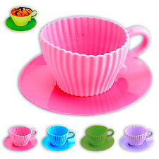 Silikon CUPCAKE Backform Mini Kaffeetassen MUFFIN Backförmchen 4er SET 4farbig