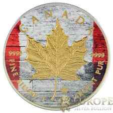 2014 1 Oz Ounce Silver Maple Leaf Coin .999 Gold Gilded Wooden Canadian Flag