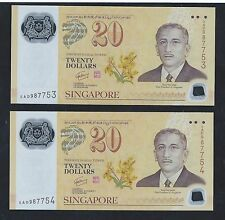 2007 SINGAPORE BRUNEI 40TH POLYMER $20 Running Number 2 pcs. BANKNOTE UNC (#66)