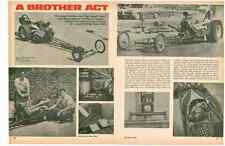 1968 AA/GAS DRAGSTER - MARK & BARRY MANO ~ VINTAGE ORIGINAL 2-PAGE ARTICLE