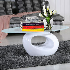 Modern Oval Glass Coffee Table With Fibreglass Base White For Living Room