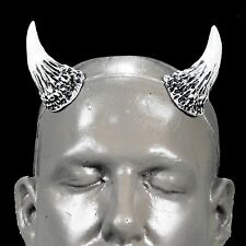 Wicked v1 White & Black Devil Horns with adjustable, self locking clear headband