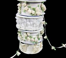 4 Spools Wedding Roses Rosebud Pearl Bows Rhinestone Trim Ribbon