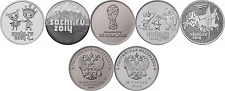 Russia 25 rubles 2014 Sochi, 2018 Fifa World Cup Full Set 5 Pcs UNC