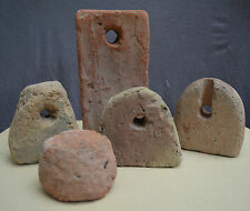 5 Gothic 14th-16th century Dutch earthenware fish net weights