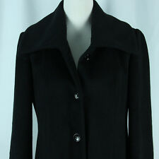 Calvin Klein Wool Blend Coat Womens 6 Small Black Single Breasted Walker Walking