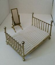 Brass Metal Bed Standing Mirror miniature dollhouse furniture Vtg Bedroom Set