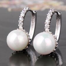 Fabulous 18K white gold filled delightful pearl wedding design huggie earring