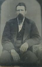 Vintage Antique Tintype Photograph of Handsome Man in Suit goatee