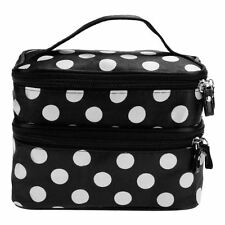 LARGE Black Ladies Travel Case Makeup Cosmetic Set Toiletry Holder Mirror Bag