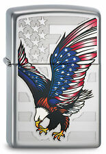 ZIPPO Feuerzeug EAGLE FLAG High Polished Chrome Adler U.S. Flagge NEU OVP