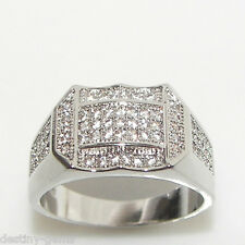 Size S Created Diamond Signet Hip Hop iced Out Bling Ring Silver Rhodium Plated